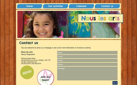 Screenshot of Contact Page nouslesarts.com - nouslesarts | Contact us - captured June 14, 2017
