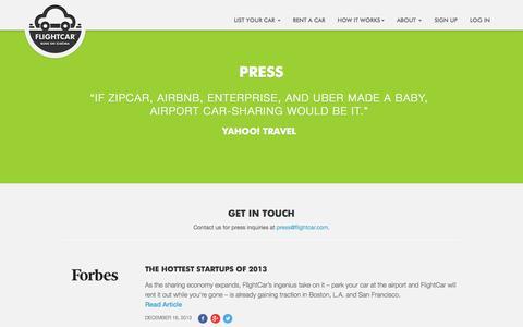 Screenshot of Press Page flightcar.com - FlightCar: Car Sharing, Long-term Airport Parking, Airport Car Rentals - captured Sept. 16, 2014