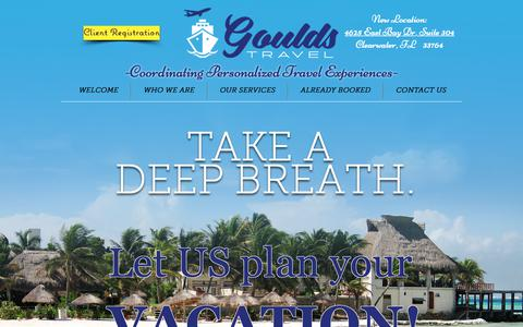 Screenshot of Home Page gouldstravel.com - Travel Agency | Clearwater | Goulds Travel - captured Sept. 29, 2018