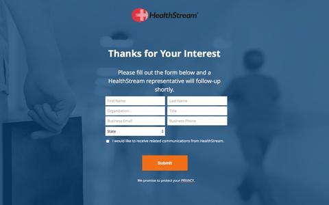 Screenshot of Landing Page healthstream.com - Contact a HealthStream Representative for More Information. - captured Feb. 25, 2017