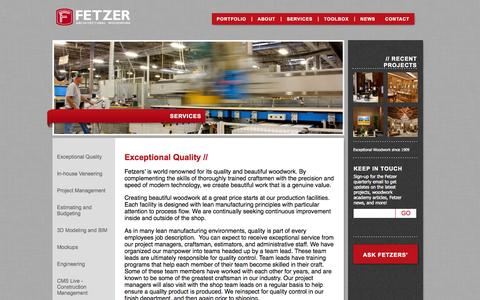 Screenshot of Services Page fetzerwood.com - Services - Fetzer Architectural WoodworkFetzer Architectural Woodwork - captured Oct. 5, 2014