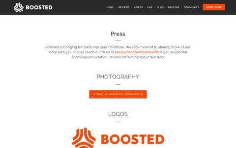 Screenshot of Press Page boostedboards.com - Press - Boosted Boards - captured Nov. 11, 2015