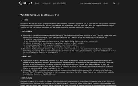 Screenshot of Terms Page bluntusa.com - Terms and Conditions - - captured Oct. 5, 2014