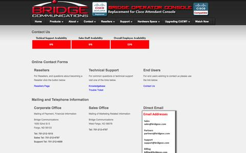 Screenshot of Contact Page bridgeoc.com - Bridge Operator Console - Contact Us - Replacement For Cisco Attendant  Console - captured Oct. 5, 2014