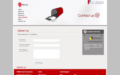 Screenshot of Contact Page ubgkw.com - :: United Business Group - Leader in IT Infrastructure Management and Technical Support Services in Kuwait :: - captured Oct. 27, 2014