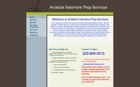 Screenshot of Home Page aviationinterviewprep.com - Aviation Interview Prep Services - Home - captured Oct. 4, 2014