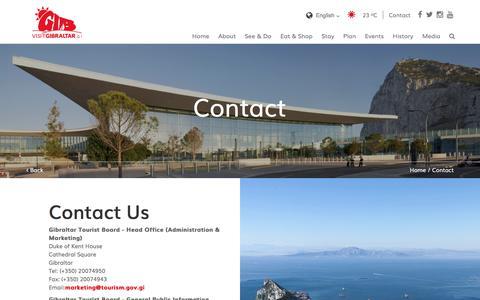 Screenshot of Contact Page visitgibraltar.gi - Visit Gibraltar - Contact - captured Sept. 23, 2018