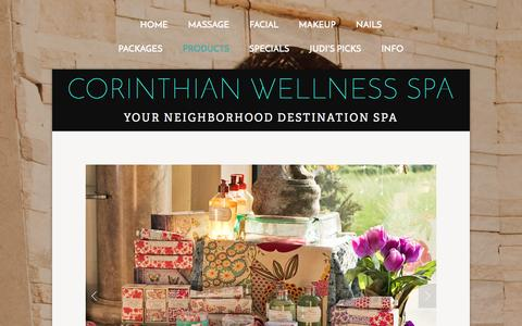 Screenshot of Products Page corinthianspa.com - Products — Corinthian Wellness Spa - captured Jan. 31, 2016