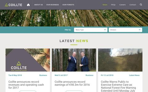 Screenshot of Press Page coillte.ie - Coillte Latest News Business and General Public focused - captured July 19, 2018
