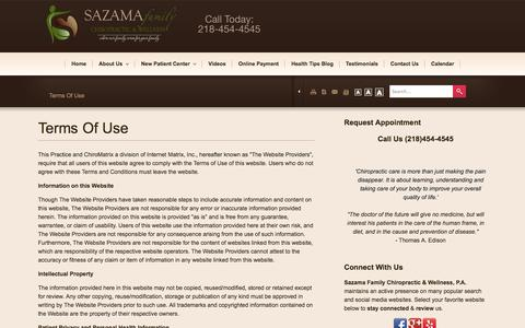 Screenshot of Terms Page sazamafamilychiro.com - Sazama Family Chiropractic & Wellness, P.A. - Chiropractor In Baxter/Brainerd, MN USA :: Terms Of Use - captured Oct. 4, 2014