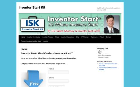 Screenshot of Home Page inventorstartkit.com - Inventor Start Kit | Free Inventor Downloads Invention - captured Aug. 6, 2016