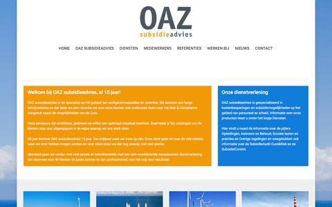 Screenshot of Home Page oazsubsidie.nl - OAZ subsidieadvies - captured Feb. 16, 2016