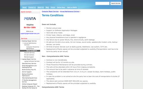 Screenshot of Terms Page pentaitservices.com - Terms Conditions - Business of Computer Repair Services in Mumbai - captured Sept. 29, 2014