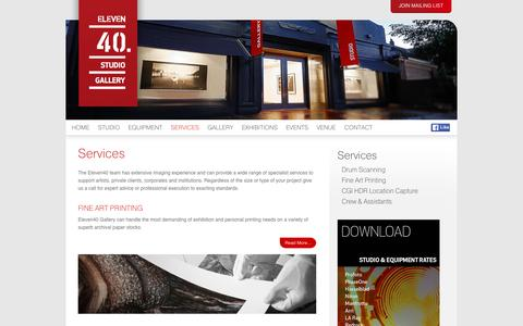 Screenshot of Services Page eleven40.com.au - Eleven40 Studio & Equipment Hire - captured Jan. 27, 2016
