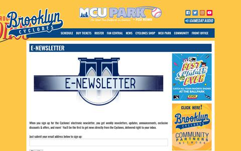Screenshot of Signup Page brooklyncyclones.com - brooklyncyclones.com: E-newsletter - captured Aug. 4, 2018