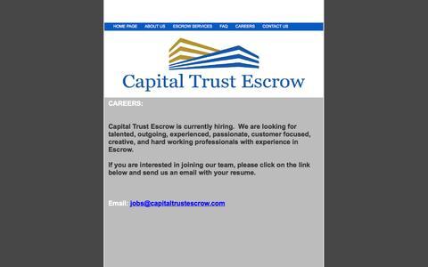 Screenshot of Jobs Page capitaltrustescrow.com - Capital Trust Escrow - captured Sept. 30, 2014