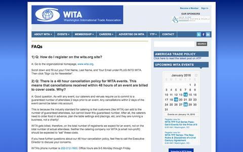 Screenshot of FAQ Page wita.org - FAQs | Washington International Trade Association (WITA) - captured Jan. 11, 2016
