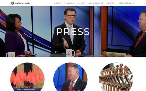 Screenshot of Press Page madisonmain.com - Press | Madison+Main | Agency News, Client PR, Ad Awards & More - captured July 27, 2018
