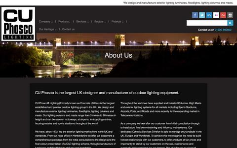Screenshot of About Page cuphosco.co.uk - About CU Phosco - The Largest UK Manufacturer of Outdoor Lighting Equipment - captured Feb. 19, 2017