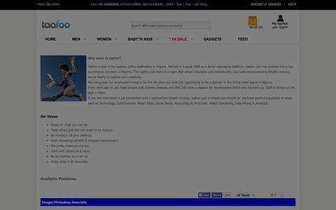 Screenshot of Jobs Page taafoo.com - Careers -taafoo.com - Online Shopping | Buy Clothes, Shoes, Watches, Accessories n More - captured Oct. 30, 2014