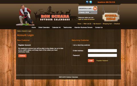 Screenshot of Login Page outdoorcalendars.com - Outdoor Calendars Account Login - captured Nov. 5, 2014