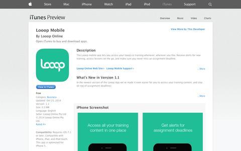 Screenshot of iOS App Page apple.com - Looop Mobile on the App Store on iTunes - captured Nov. 2, 2014