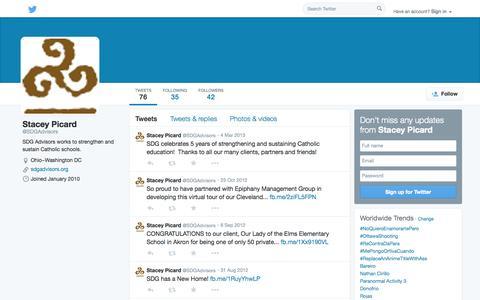 Screenshot of Twitter Page twitter.com - Stacey Picard (@SDGAdvisors) | Twitter - captured Oct. 23, 2014