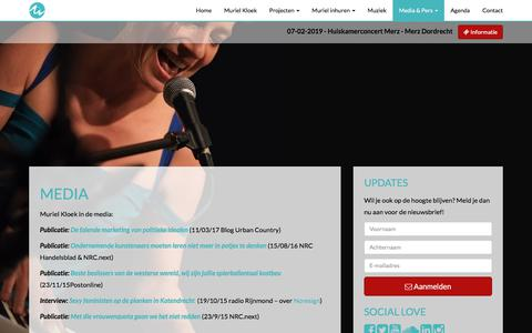 Screenshot of Press Page musicinmotions.com - Muriel Kloek in de media, publicaties en interviews - captured Sept. 21, 2018
