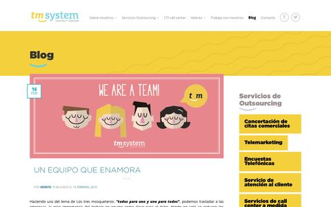 Screenshot of Blog tmsystem.es - Blog - Call Center TM System - captured Feb. 16, 2016