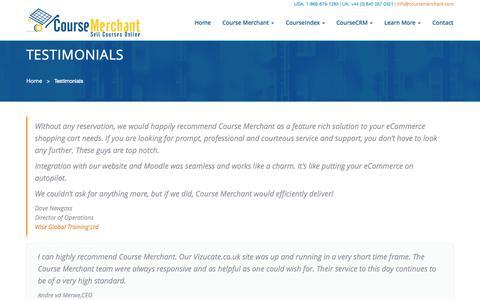 Screenshot of Testimonials Page coursemerchant.com - Course Merchant | Customer Testimonials - captured Sept. 23, 2014