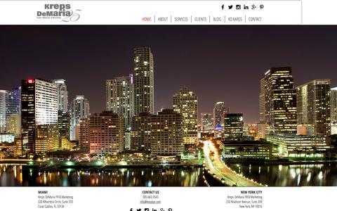 Screenshot of Home Page krepspr.com - Kreps DeMaria PR & Marketing - captured Feb. 12, 2016
