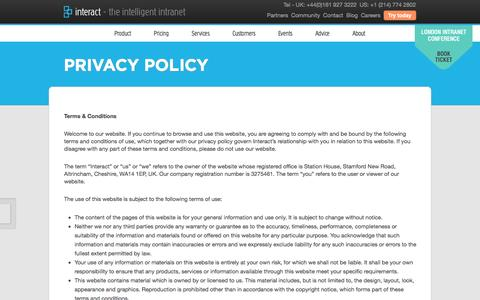 Screenshot of Privacy Page interact-intranet.com - Privacy Policy - Interact Intranet Software - captured Sept. 19, 2014