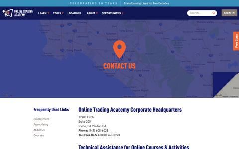 Screenshot of Contact Page tradingacademy.com - Contact Us - Online Trading Academy - captured April 14, 2017