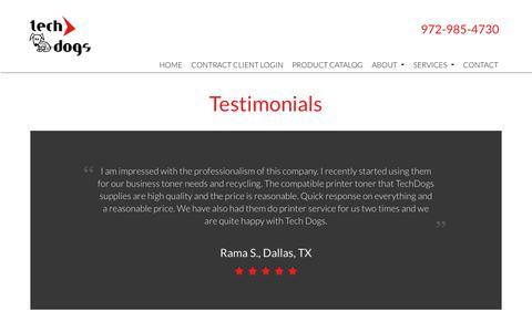 Screenshot of Testimonials Page techdogsonline.com - Testimonials Tech Dogs Plano | Customer Reviews Tech Dogs Plano | Tech Dogs - captured Nov. 19, 2018