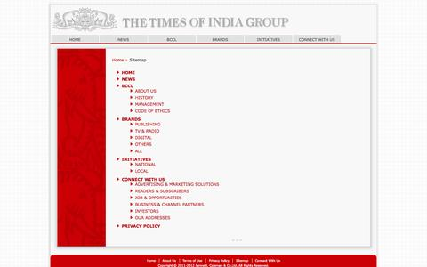 Screenshot of Site Map Page timesgroup.com - Site Map - captured Sept. 22, 2014