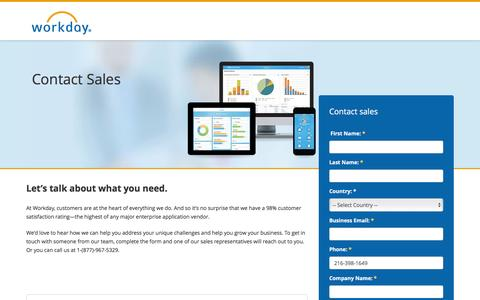 Screenshot of Contact Page workday.com - Contact Sales - captured Feb. 27, 2016