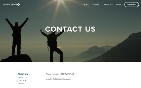 Screenshot of Contact Page twfsolutions.com - Contact — TWF Solutions - captured Nov. 3, 2017