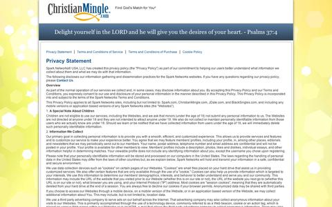 Screenshot of Privacy Page Terms Page christianmingle.com - ChristianMingle - Terms of Use - captured Sept. 11, 2014