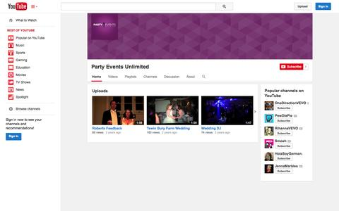 Screenshot of YouTube Page youtube.com - Party Events Unlimited  - YouTube - captured Oct. 22, 2014