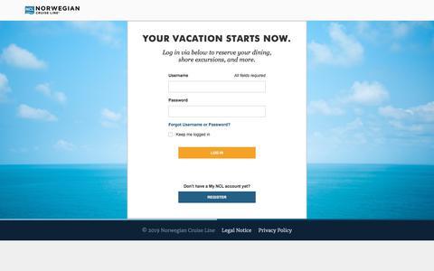 Screenshot of Login Page ncl.com - Cruises & Cruise Deals | Caribbean Cruise Vacations | Norwegian Cruise Line - captured Jan. 21, 2020