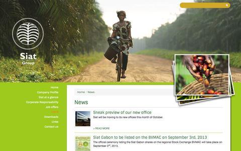 Screenshot of Press Page siat-group.com - News - Siat Group - captured Oct. 3, 2014