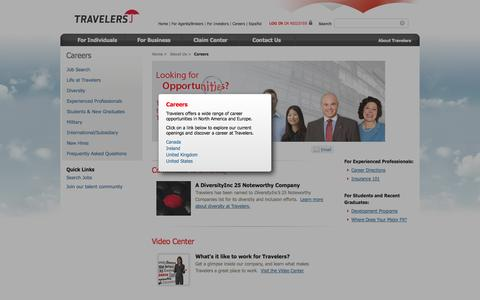 Screenshot of Jobs Page travelers.com - Careers at Travelers | Career Opportunity | Travelers Insurance - captured Sept. 18, 2014