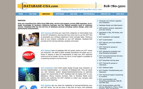 Screenshot of Services Page database-usa.com - #1 ACT Software Support | ACT Software Help | ACT Help Professionals - captured Oct. 7, 2018