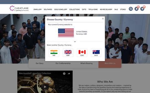 Screenshot of Jobs Page caratlane.com - About Us – India's Trusted Online Jeweller | Caratlane.com - captured April 8, 2018