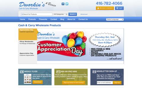 Screenshot of About Page dworkins.com - Cash & Carry Wholesale Food & Vending Products | Toronto | Dworkin's - captured Oct. 5, 2014