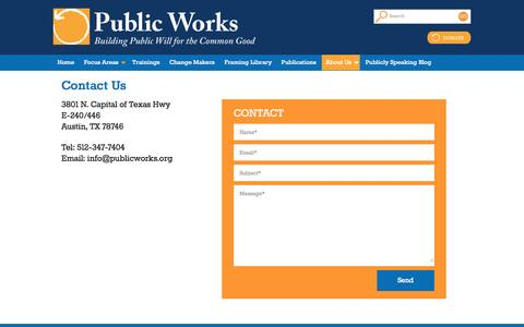 Screenshot of Contact Page publicworks.org - Contact Public Works - captured Sept. 30, 2014