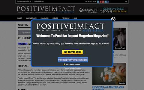 Screenshot of About Page positiveimpactmagazine.com - ABOUT US | Positive Impact Magazine - captured Oct. 28, 2014