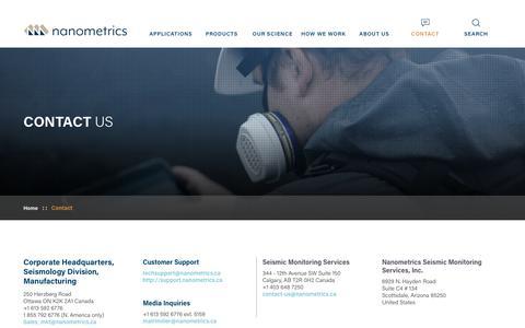 Screenshot of Contact Page nanometrics.ca - Contact Us  | Nanometrics - captured Oct. 20, 2018