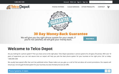 Screenshot of Home Page telcodepot.com - Business Phone System | IP Phone Systems | TelcoDepot.com - captured Sept. 20, 2018