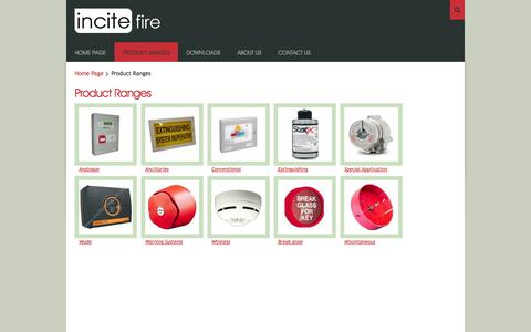 Screenshot of Products Page incitefire.com.au - Incite Fire Product Ranges - captured Sept. 30, 2014